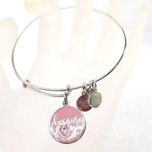 "Alex + Ani Bracelet ""Because I ❤ You"" pink pendant"